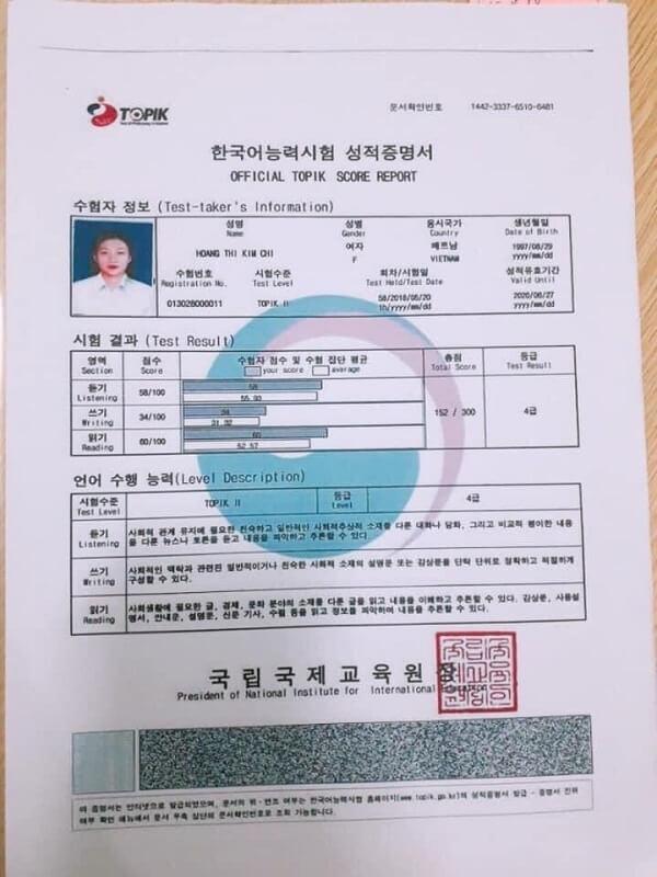 Chứng Chỉ Tiếng Hàn